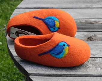 Little Kid Shoe. Felted Soft Wool Slippers in Orange  with Blue  Birds decor.