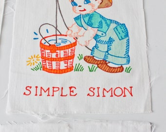Vintage Hand Painted-Unpainted Quilt Square Block-Anthropomorphic Boy-You Choose-Fishing Bucket Simple Simon-100% Cotton-Nursery Rhyme