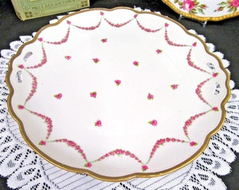 Austria Platter Pink Rose Swag and Bow Charger Gold Gilt Open Edges