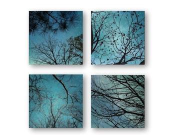 Night Stars, Surreal Sky Photos, Tree Silhouette Print Set, Nature Teal Blue Prints, Nature Textures