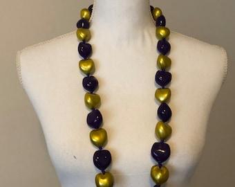 Hawaiian Kukui Nut  Lei Necklace Purple and Gold Customizable