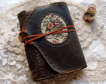 Leather & Fabric Journal, Large, Tea Stained Pages, 'Tapestry Tales' - OOAK