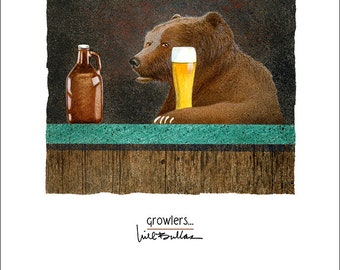 Will Bullas / art print / growlers... / humor / animals / grizzly bear