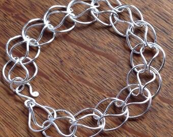 Fine Silver Linked Bracelet, Handmade, .999 Pure Silver, Fused Links