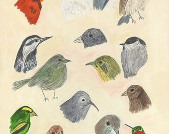 Birds with personality.  Limited edition print by Vivienne Strauss.