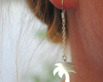 Palm tree earrings in 925 sterling silver, palm tree jewelry