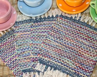 Colorful Handwoven Coasters - Eco Friendly Mug Rugs - Hand Woven Colorful Coasters - Set of 4 Coasters
