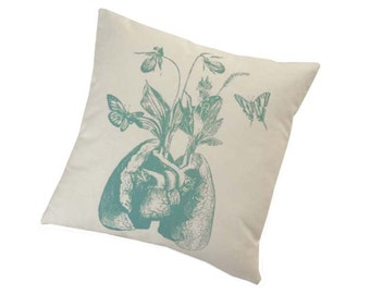 Growing Human Lungs and Heart silk screened cotton canvas throw pillow 18 inch teal on unbleached