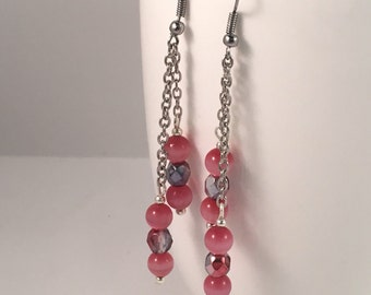 Pink dangle earrings, pink chain earrings, pink drop earrings, pink beaded earrings, pink earrings, earrings pink