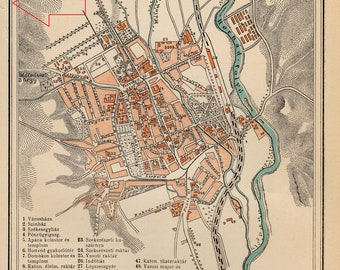 Antique city map of Košice, Slovakia from 1895