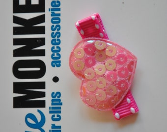 Pink Sequin Heart Hair Clip