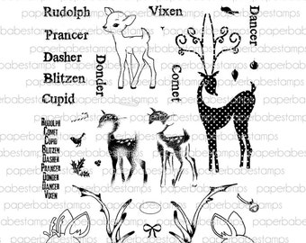 Reindeer Fusions Stamp Set - Paperbabe Stamps - Clear Photopolymer Stamps - For paper crafting and scrapbooking.