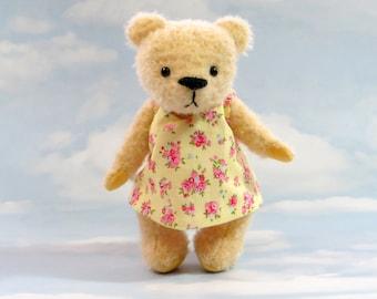 SALE! -Artist MOHAIR teddybeer 'Lemony Lou' gele OOAK handgemaakte - mijn dragen voet beren