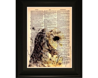 "Wisdom"".Dictionary Art Print. Vintage Upcycled Antique Book Page. Fits 8""x10"" frame"