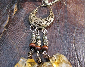 OOAK Victorian Tribal Citrine Necklace