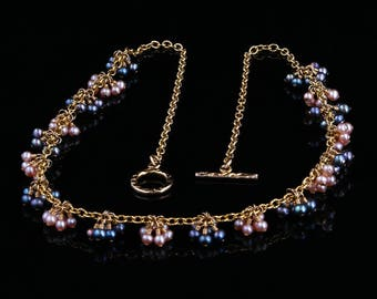 Baby Pearl Clusters Gold Chain Necklace @landandseajewelry.com
