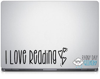 I Love Reading Vinyl Decal - Reading Decal, Bookish Decal, Book nerd gift, book lover gift, gift for readers, library decal, library decals
