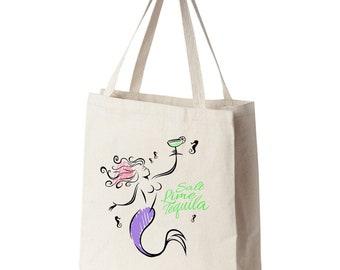 Margarita Mermaid Tote Bag (printed on one side)