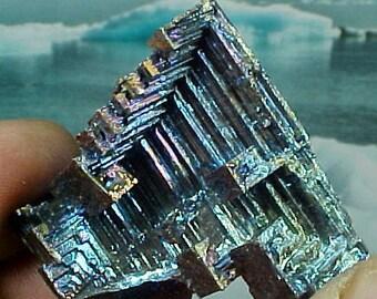 Rainbow Geometric Bismuth Crystal Mineral Specimen Excellent for Instilling Group Cohesiveness 007