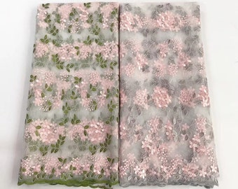 New Lace flower design  Embroidered Tulle French Lace Fabric