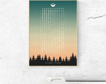 Printable Moon Calendar, Printable Moon Phases Calendar 2018, Moon Phases 2018, Moon Calendar 2018, Moon Phases, Moon Phases Wall Decor