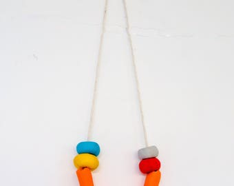 Orange Clay Bead Necklace