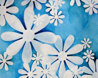 White Floral Art, Blue and White Art Print, Dark Blue Room Decor, Navy, Shabby Chick, Daisies, Best Selling Art, Trending Now, Top Items