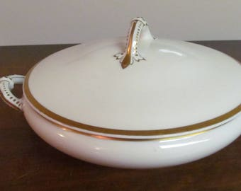 Vintage Limoges Covered Serving Dish Gold Trim