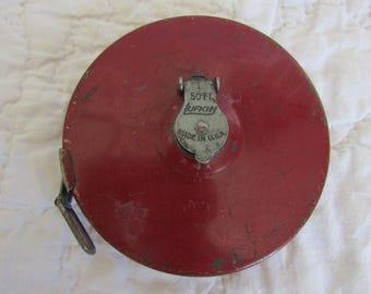 Vintage Lufkin Cloth 50 ft Tape Measure Red