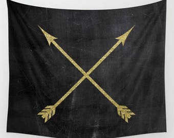 Rustic Home Decor, Arrow Tapestry, Black and Gold, Extra Large Wall Art, Arrow Print, Wall Hanging, Boho Decor, Gifts for Her, Dorm Tapestry