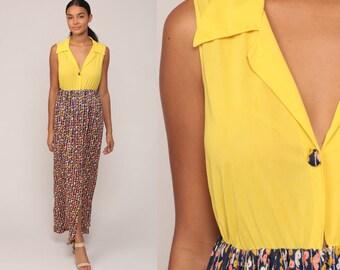 Boho Maxi Dress 70s Hippie BIRD PRINT 1970s Novelty Print Bohemian Vintage Sleeveless Yellow High Waist Button Up Medium Large