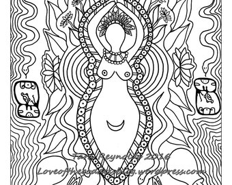 Coloring Page, Goddess Art, Goddess Ixchel, Goddess Print, Coloring Book Page, Pagan Art, Mandala Art, Printable Coloring Page