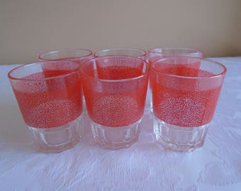 red panel small glass tumblers France x 6