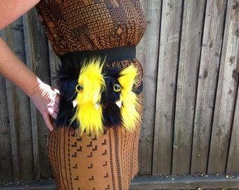 Yellow & Black Monster Fanny Pack- Two Yellow Eyes