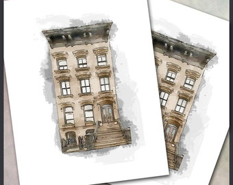 Brownstone Note Cards / Rowhouse  Row House / Digital Watercolor / Altered Art / Brooklyn New York Cleveland Philadelphia DC / Set of 10