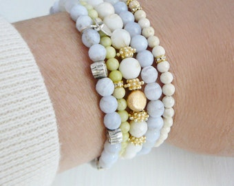 1 Gemstone Bracelet Blue Lace Agate sterling silver flowers stacking friendship fashion jewelry Wedding Bridal