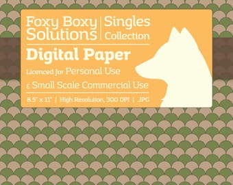 Scale Pattern on Kraft Digital Paper - Single Sheet in Green - Printable Scrapbooking Paper