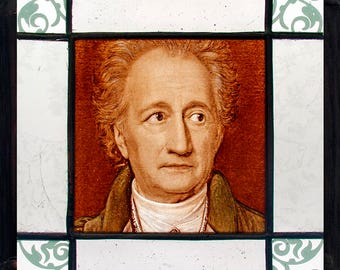 Goethe stained glass, Goethe suncatcher, Johann Wolfgang von Goethe, kilnfired glass, scientist, poet, original gift, nice gift, gift idea
