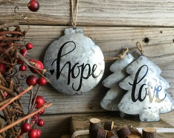 PERSONALIZED, Christmas Tree, Ornament, Custom, Lettering, Galvanized, Metal, Calligraphy