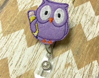 Owl w/Pencil Badge Reel, Badge Clip, Retractable Name Badge, ID Holder, Teacher ID Clip, Badge Pull