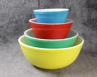 Pyrex Primary Colors Mixing Bowl Set, Set Of Four Pyrex Bowls, Vintage Pyrex Mixing Bowl Set, 400 Series