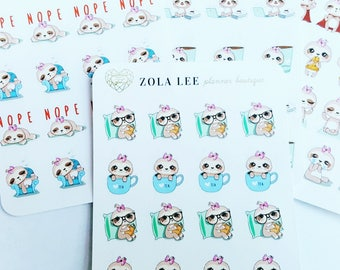 Reading Tea Time Sloth Planner stickers for Erin Condren, Happy Planner, Kikki K, Personal Planner and More