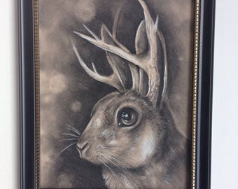 Jackalope Original Drawing - Framed 8x10