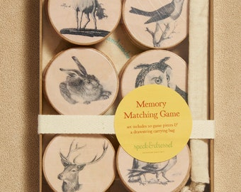Animal Wooden Matching Memory Game - Ephemera Animals- Waldorf - Eco Friendly - Party Favors - Birthday Gift