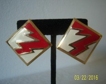 Vintage Lighting Bolt Earrings - Abstract Earrings - Geometric Earrings - Enamel Earrings - White Red Gold Earrings - Wave Earrings - 1980