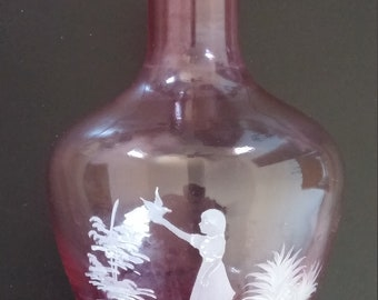Mary Gregory cranberry glass carafe
