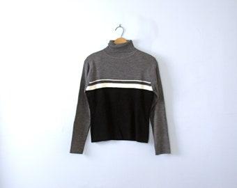 Vintage 90's striped turtleneck sweater, women's size medium / large