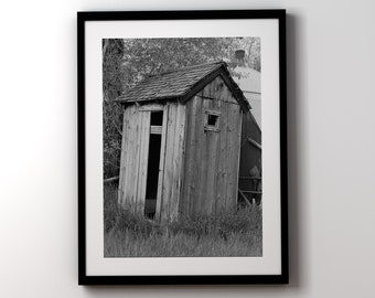 Bathroom Wall Art, Farmhouse Decor, Black and White Bathroom Prints, Framed Art,Outhouse Photo, Urban Farmhouse Bathroom Decor, Rustic Decor