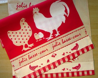 Tea towel with embroidered rooster and hen, 100% cotton, embroidered cross stitch / chicks / red / beige / on order