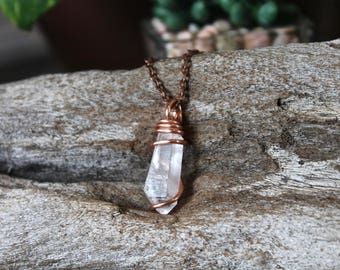 Quartz Crystal Necklace - Natural Crystal Jewelry - Wire Wrapped Stone Necklace - Boho Jewelry - Natural Stone Jewelry - Bohemian Necklace
